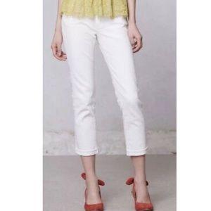 AG 'Stevie' Slim Straight Roll-Up Jeans in White